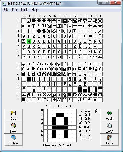 8x8 Pixel Rom Font Editor